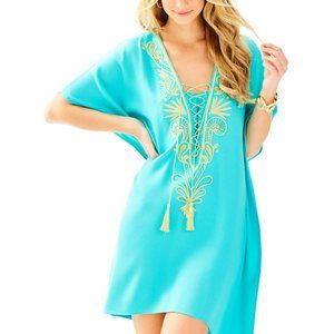 🏝 Lilly Pulitzer Chai Caftan S/M Lace Up V-Neck